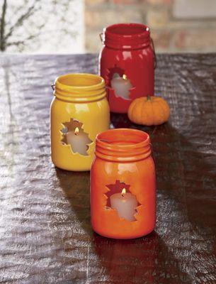 Set of 3 Leaf Mason Jar