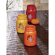 set of 3 leaf mason jar