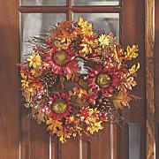 burgundy velvet sunflower wreath