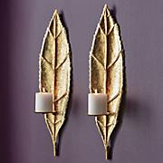 set of 2 gold leaf sconces