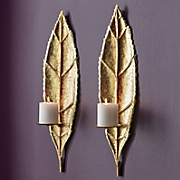 set of 2 gold leaf sconces