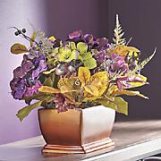 glitter tipped hydrangea arrangement