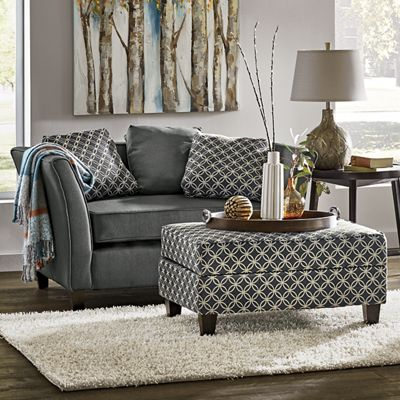 Gray Settee Ottoman From Midnight Velvet 741180