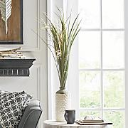 pampas grass in embossed vase