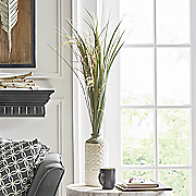 pampas grass in embossed vase