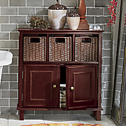 rattan space saver and towel cabinet