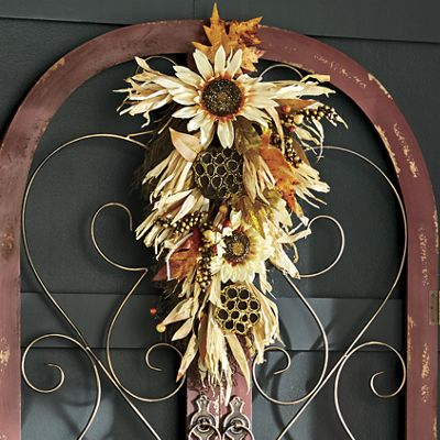 Glitter Lotus Sunflower Swag From Through The Country Door