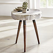 faux stone side table