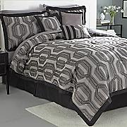 hexagon 7 pc  jacquard comforter set and window treatments
