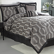 Hexagon 7-Piece Jacquard Comforter Set and Window Treatments