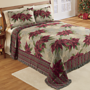 poinsettia woven coverlet and sham