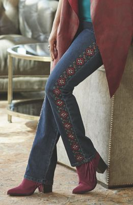 Perrie Embroidered Denim Pant