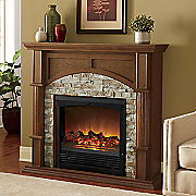 faux brick fireplace