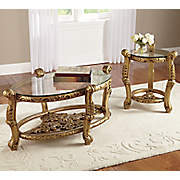 hand carved gold accent tables