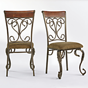 Set of 2 Leaf Scroll Dining Chairs
