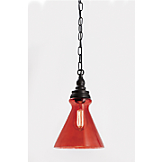 ruby red glass pendant lamp