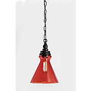 Ruby-Red Glass Pendant Lamp