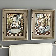 set of 2 nailhead bath art