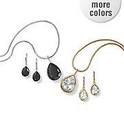 reversible black clear drop necklace earring set