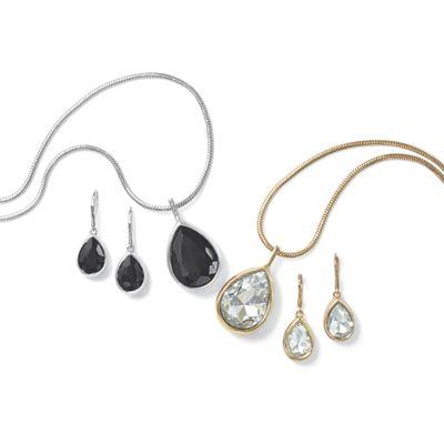 Reversible Black/Clear Drop Necklace/Earring Set