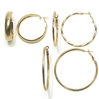 3-Pair Hoop Set
