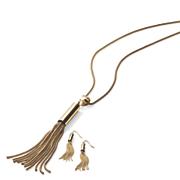 chain tassel necklace earring set