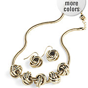 knot necklace earring set
