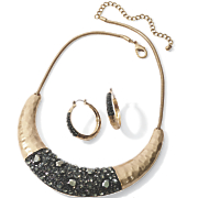 crystal hammered metal necklace
