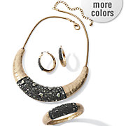 crystal hammered metal jewelry