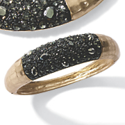 crystal hammered metal bangle