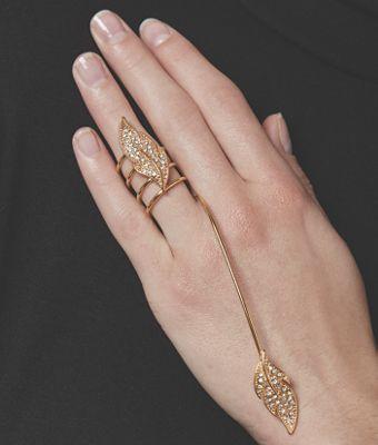 Leaf/Crystal Hand Ring