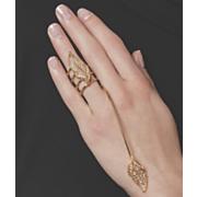 leaf crystal hand ring