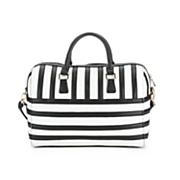 black   white striped satchel