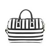 black   white striped satchel