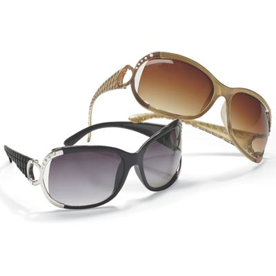 Oversized Sunglasses with Side Metal Décor and Stones