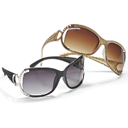 oversized sunglasses with side metal decor and stones