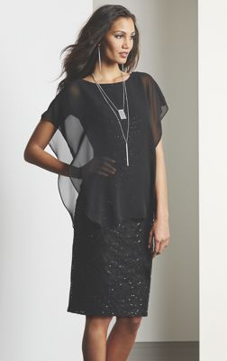 Sheer Overlay Sequin Dress, Crystal Jewelry and Bijoy Glow Pump