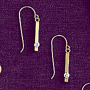 10k gold diamond bar drop earrings