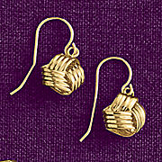 10k gold love knot drop earrings