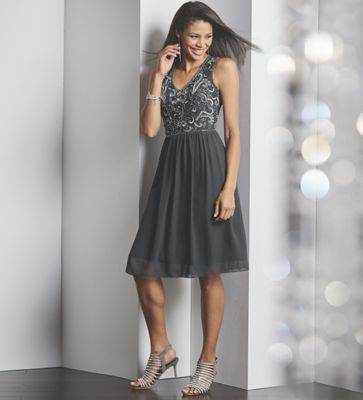 Shades of Gray Party Dress, Crystal Jewelry and Mesh Pump