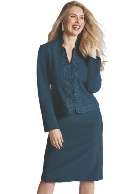Jada Embroidered Skirt Suit, Crystal Hoops and Borish Shoe
