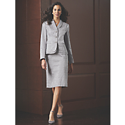 Scroll Jacquard Suit, Diamond Cluster Jewelry and Ankle Wrap Shoe