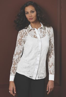 Faux Pearl Collar Lace Top