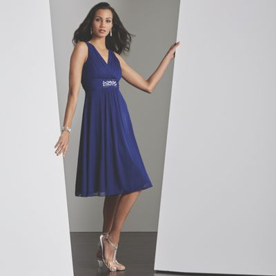 Cobalt Beaded Party Dress, Crystal Jewelry and Marnie Strap Shoe