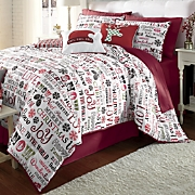 holiday cheer microfiber comforter set  decorative pillows and window treatments