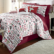 Holiday Cheer Microfiber Comforter Set, Decorative Pillows and Window Treatments