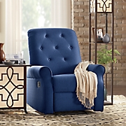 blue tufted recliner