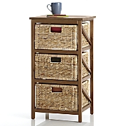 3 woven basket drawers
