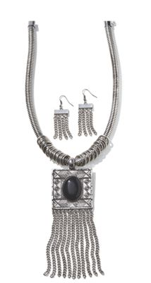 Black Oval Necklace/Earring Set
