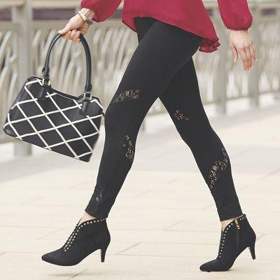 Lace Inset Knit Legging